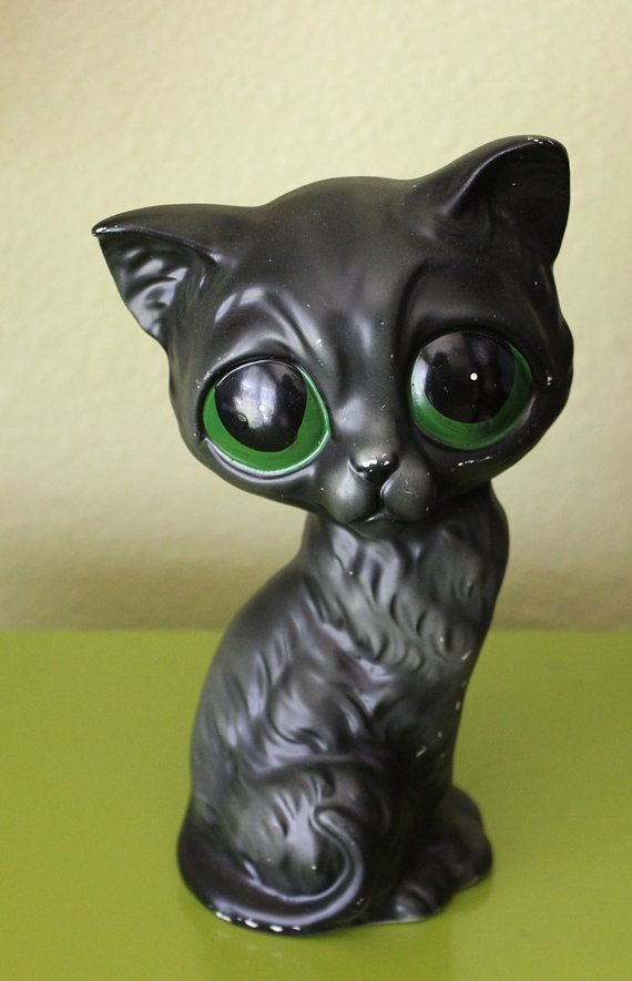 Vintage+Gig+Style+Big+Green+Eyed+Cat+Figurine+by+arctictimberwolf,+$14.00