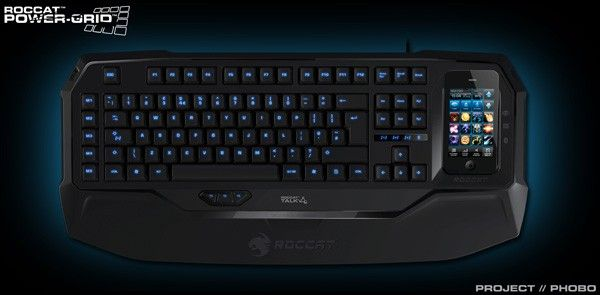 ROCCAT Power-Grid app, Phobo gaming keyboard shift PC controls to your phone... The modular PC keyboard not only provides a dock for your Power-Grid equipped mobile, but also lets you respond to texts, chats and tweets using its full array of keys. Pairing your phone with the Phobo will even route voice calls to your PC's gaming headset.