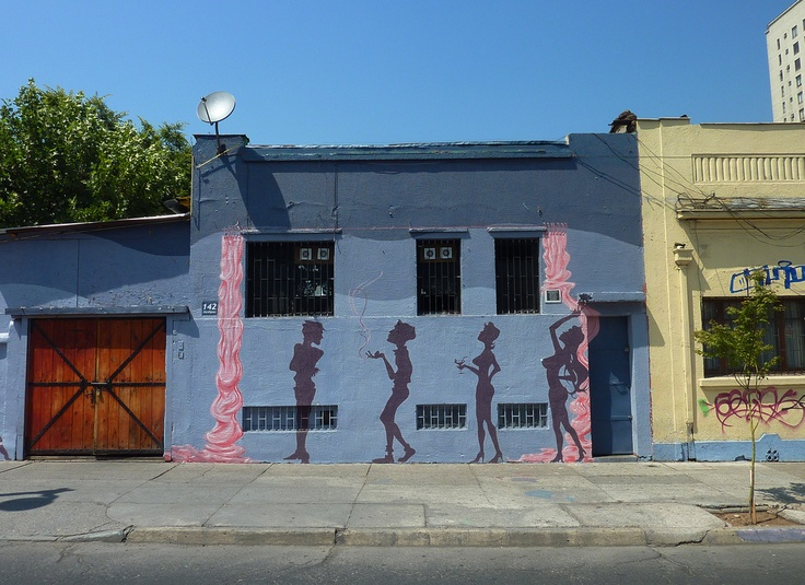 Colourful street art in Barrio Bellavista, Santiago, Chile