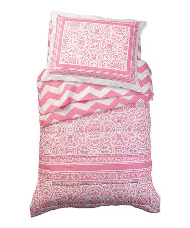 Another great find on #zulily! Pink Chevron Four-Piece Bedding Set #zulilyfinds