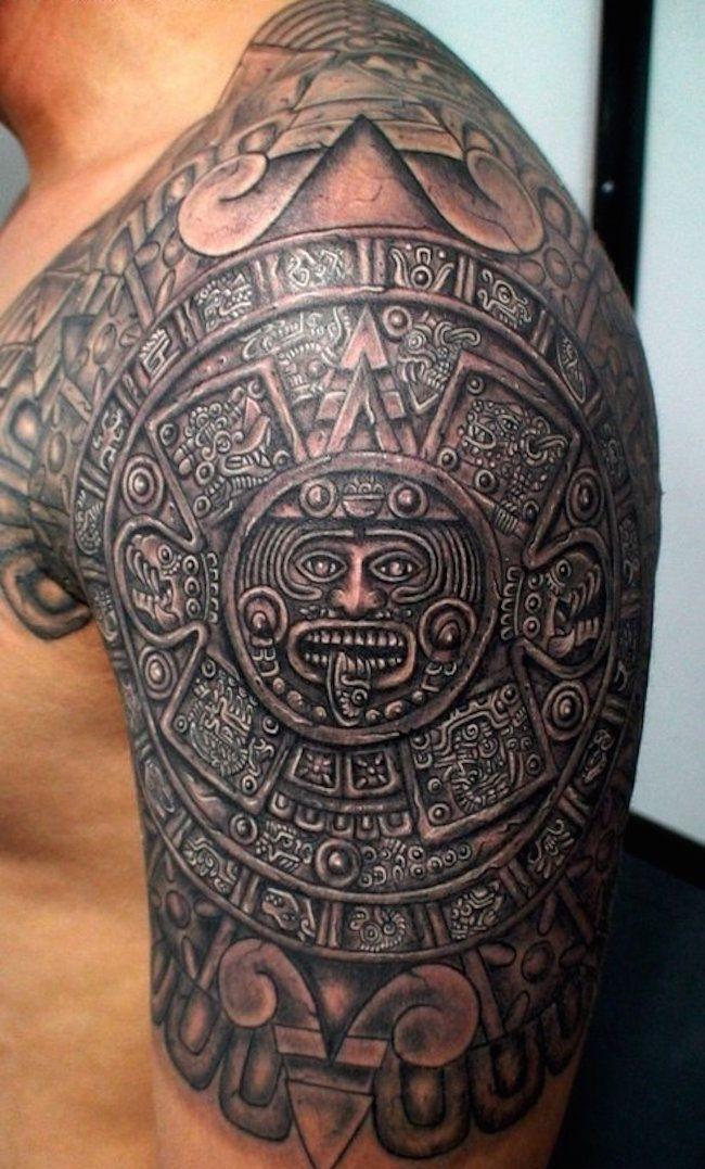 Aztec shoulder tattoo