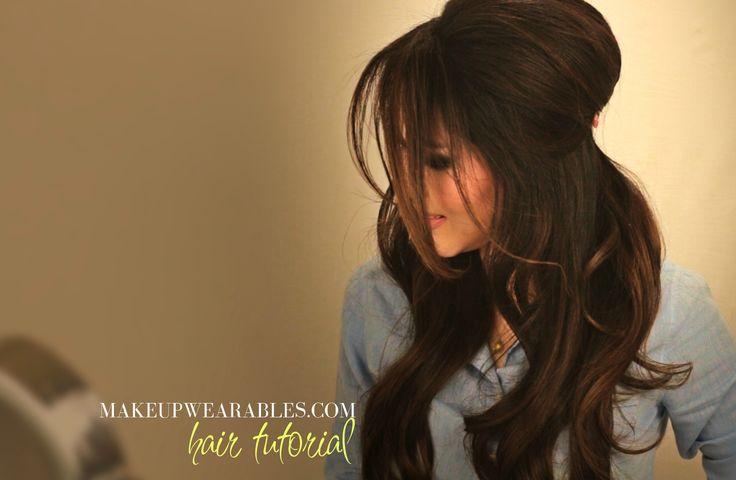 How to tease your hair and get voluminous Brigitte Bardot Hair! | Half Updo Hairstyles Hair Tutorial