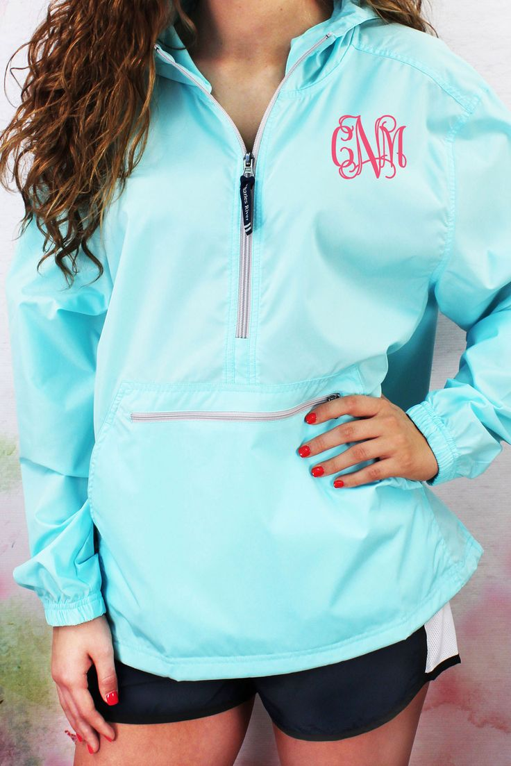Monogrammed Charles River Lightweight Rain Pullover, Aqua #9904 *Customizable!
