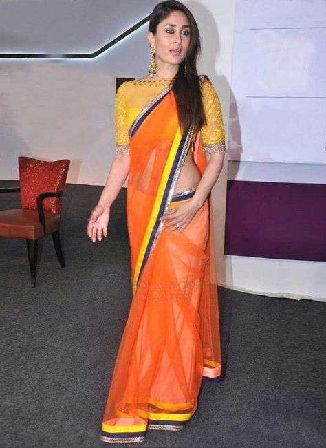 Beautiful Orange Coloured Net Border Work Indian Designer Saree Worn By Queen of bollywood Kareena Kapoor Khan At Best Price Only At Uttamvastra - Online Shopping For Women