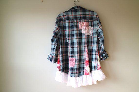 Flannel Boyfriend Shirt Large XL Upcycled by BentEdgeAlchemy