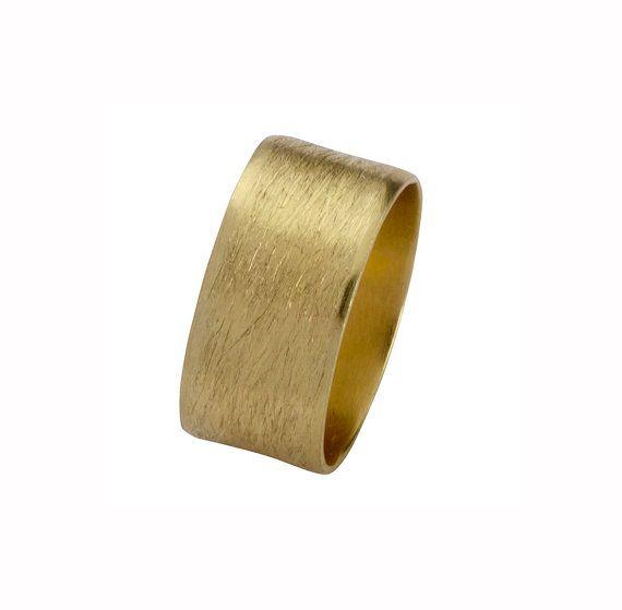 Brushed wedding ringWide Wedding Band in Yellow by EttyJewelry, $740.00