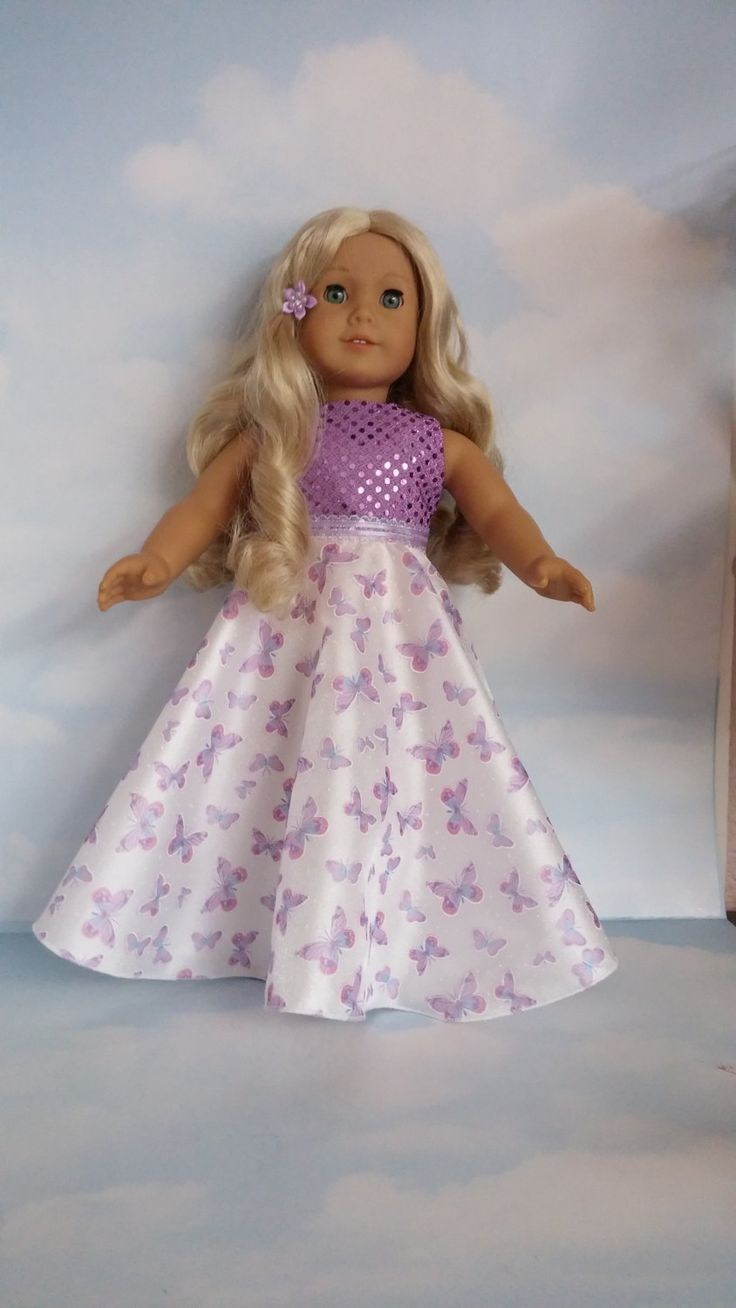 18 inch doll clothes - Purple and White Butterfly Gown handmade to fit the American Girl Doll by susiestitchit on Etsy