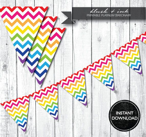 INSTANT DOWNLOAD - Rainbow Chevron Banner Bunting Garland - Birthday Party - Shower - Decoration via Etsy