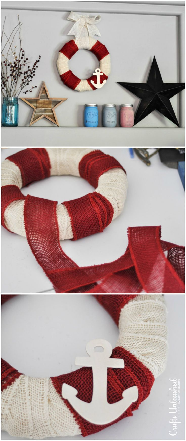 Nautical crafts to make - Diy Burlap Wreath Summer Nautical Crafts Unleashed