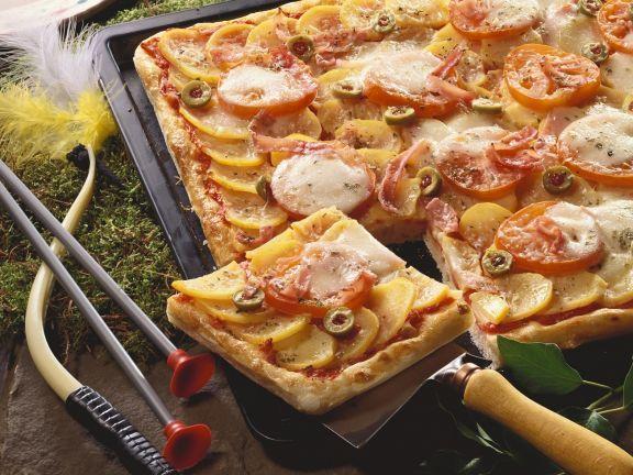Pizza mit Kartoffeln ist ein Rezept mit frischen Zutaten aus der Kategorie Pizza. Probieren Sie dieses und weitere Rezepte von EAT SMARTER!