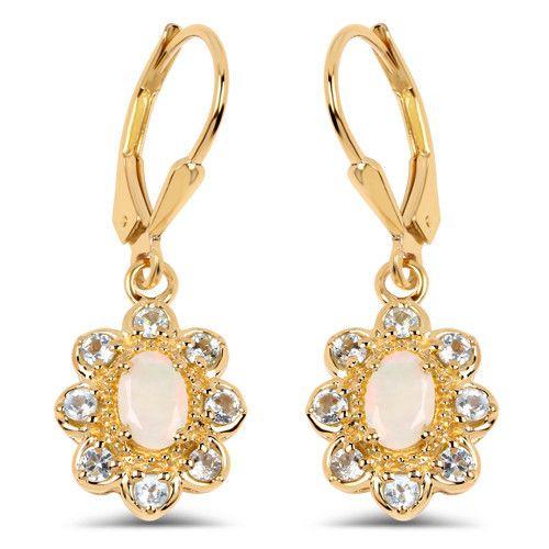 14K Yellow Gold Plated 1.06 Carat Genuine Ethiopian Opal & Blue Topaz .925 Sterling Silver Earrings