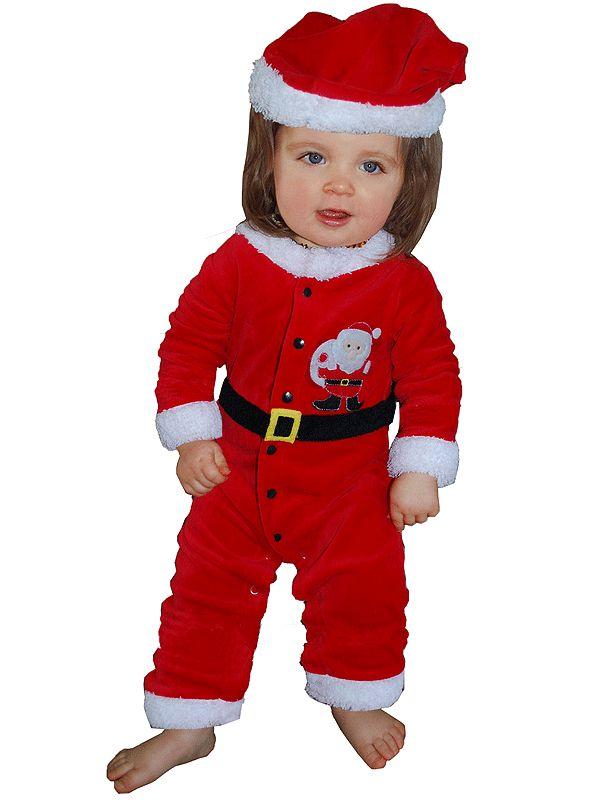 Velours kerstman baby pakje 3-12 maanden. Leuk kerstman pakje voor babies van 3 tot 12 maanden oud. Het pakje bestaat uit een geheel pakje en is inclusief kerstmutsje. Het kostuum is van nek tot voet circa 45 cm.