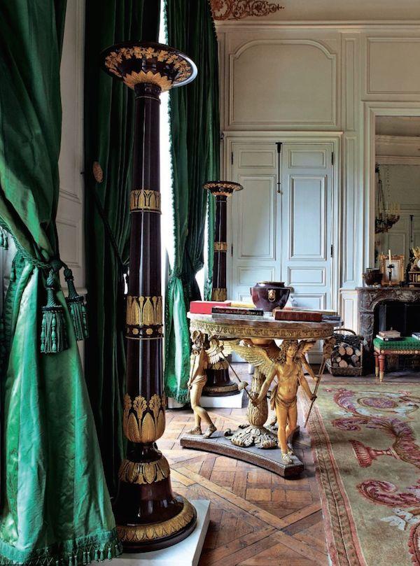 Hubert de Givenchy for Christie's ParisEmerals green silk curtains