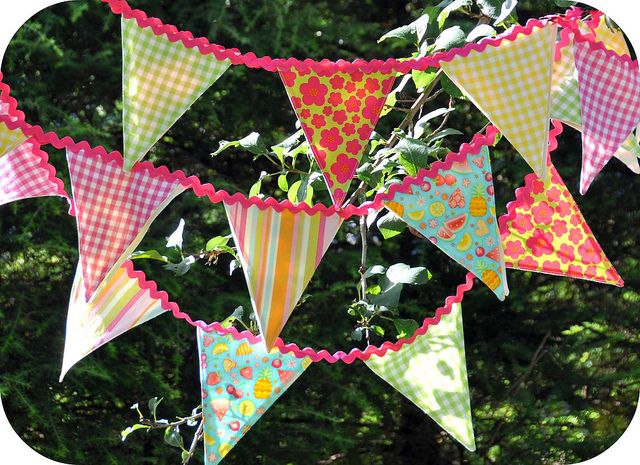 Ric rac and fabric bunting by Rosina Huber.