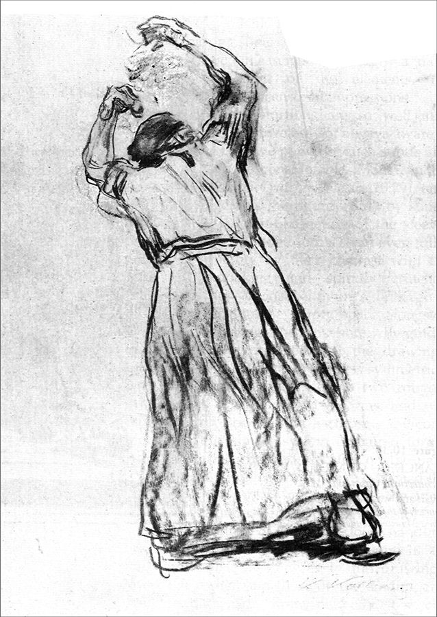 Extended Gesture - by Kathe Kollwitz-1920-charcoal - notice the residue of the corrected drawing marks