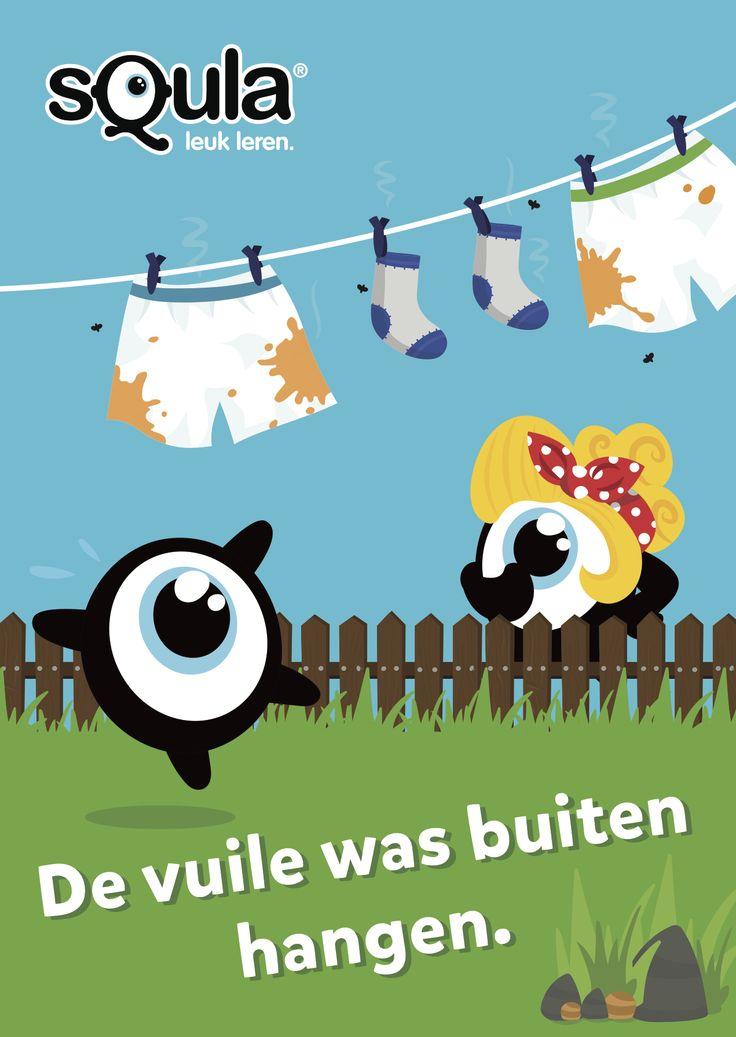 Educatieve poster met Nederlandse spreekwoorden en gezegden: De vuile was buiten hangen.