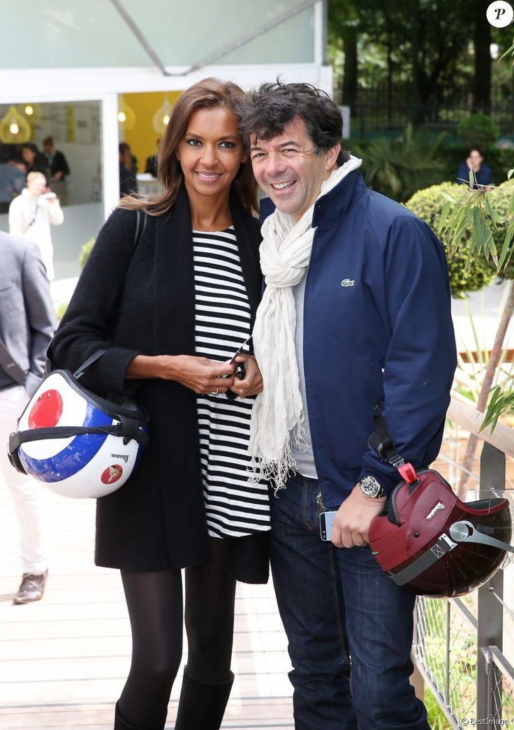 Karine Le Marchand et Stéphane Plaza - People au village des Internationaux de France de tennis de Roland Garros à Paris, le 29 mai 2014.