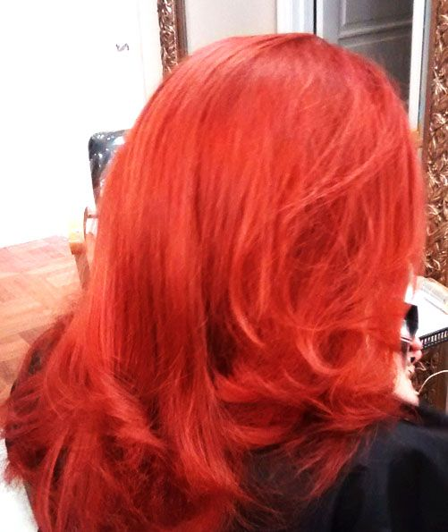 A vibrant red for you on this cloudy Thursday ❤️ #kimberlystyleshair #kimberlystylesoggisalon #yorkvillehair #yorkville #torontohair #torontosalon