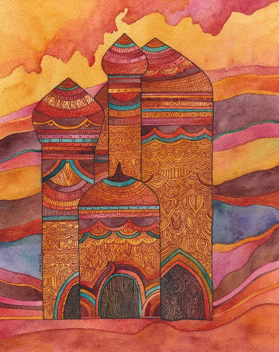 Title: Palace at Sunset Dimensions 8 x 10 inches (will fit standard frame) Media: watercolor and ink on paper Year : 2011 This painting is part of