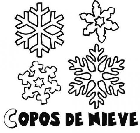 de diferentes tipos de copos de nieve en invierno para colorear