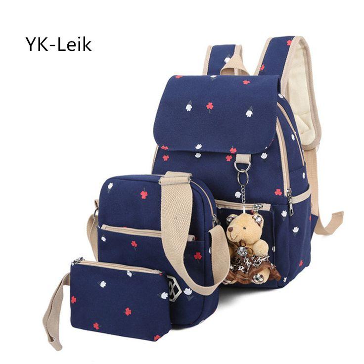 YK-Leik Brand Backpack Women Printing Backpacks Teen school bags For gril Canvas Large Capacity School Bag mochila feminina
