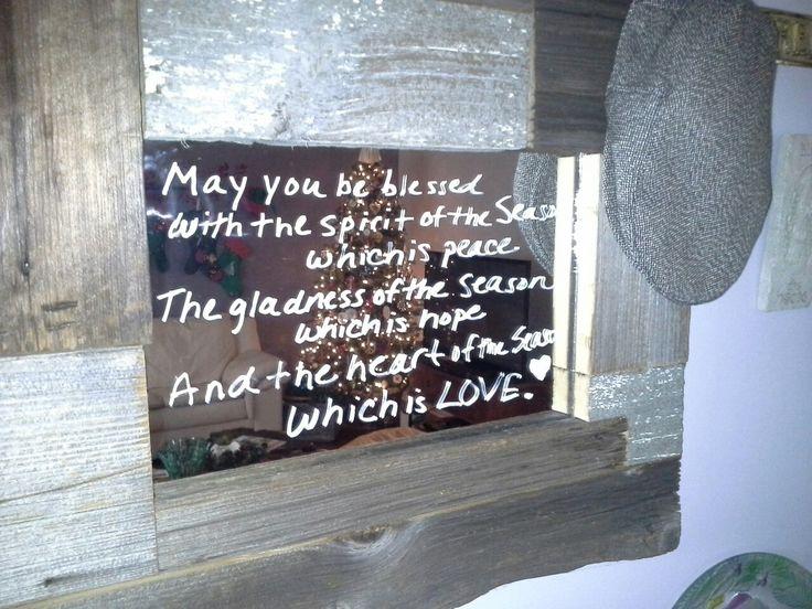 Irish Christmas poem on a reclaimed wood mirror!