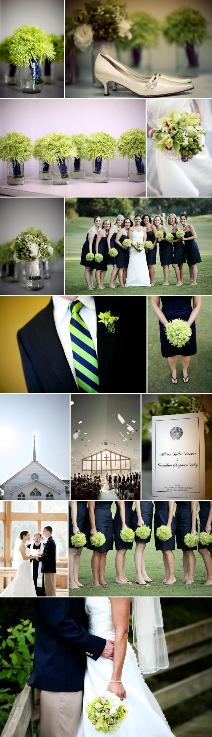 Super cute navy and lime green wedding