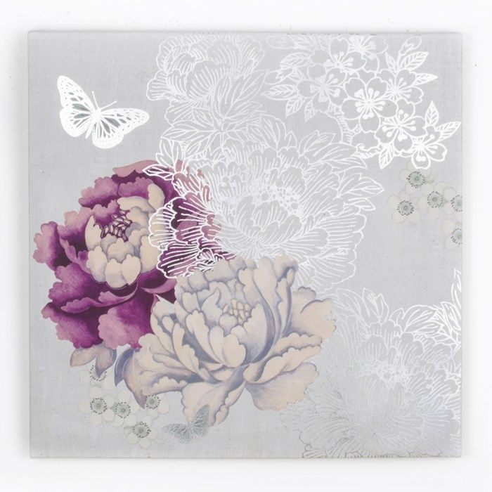 This beautifully-detailed Monsoon wall art design uses a natural source of inspiration and experiments with texture, to create a unique, fashion-forward piece.  	  	The central floral motif of the design is coloured in both white and purple tones, while shading is also used to add a sense of depth against a silver background. Delicate butterflies flutter around the textured canvas, which encapsulate the beauty and artistry of the Monsoon brand. Size: 60 x 60 cm