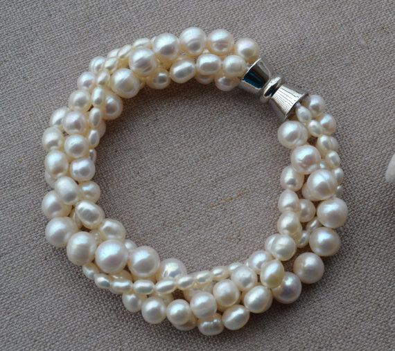 Pearl Bracelet 39mm 4 rows 7 inches freshwater by goodgoodjewelry, $13.50