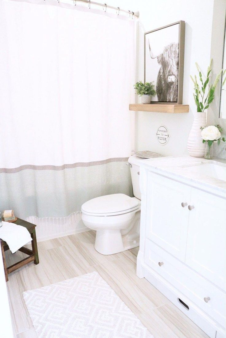 Modern Farmhouse Bathroom – How to style Small Bathroom for kids and guests. She…   – bathroom shelves