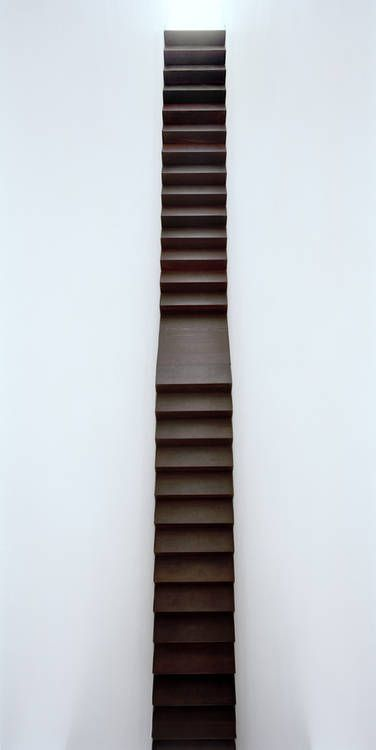 Stairs as the should be. Great contrast between the materiality of the dark wooden steps and the immateriality of the white walls. Victoria Miro gallery by Claudio Silvestrin. Photo by James Morris.