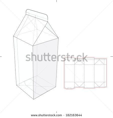 milk and juice box with die cut pattern stock vector vector