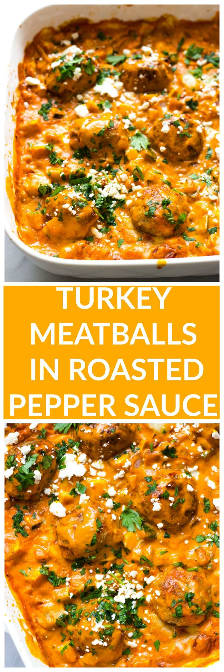 Turkey Meatballs in Roasted Pepper Sauce - made with no cream or cheese, this roasted pepper sauce is made with cashews then baked with healthy turkey meatballs and simple veggie hash | littlebroken.com Katya | Little Broken Shady Brook Farms Turkey #tryturkey #sponsored