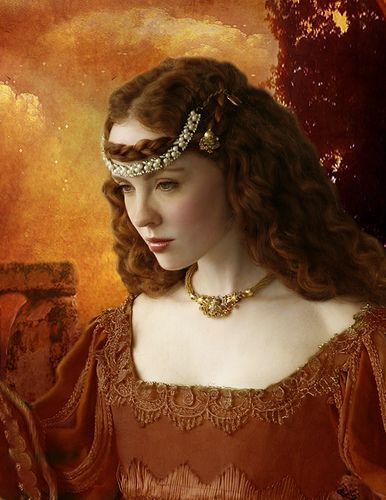 Hernagrow's painting of Alicia.  He painted her hair with a reddish tint to match her fiery temper, and she became enraged at him for this.