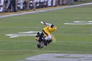 Iowa's Ron Coluzzi Trips over His Own Feet, Flips over and Gets Tackled | Bleacher Report