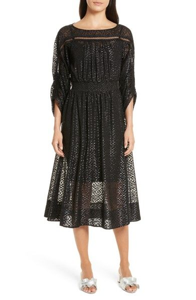 Main Image - Tracy Reese Long Sleeve Metallic Dot Midi Dress