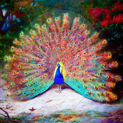 Vintage Peacock Painting Photo Cutouts