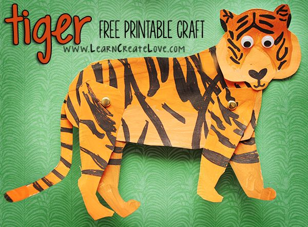 Tiger Printable Craft | LearnCreateLove.com