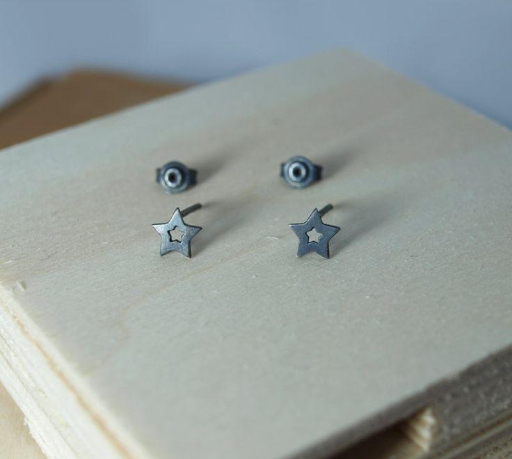 Stars Sterling Silver Stud Earrings-Black Patina by Fragkiski on Etsy
