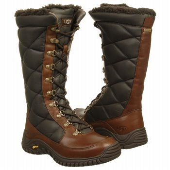 UGG Australia Women's Kintla Winter Boots  Kintla is a waterproof leather boot with quilted nylon shaft and tongue panels, a Vibram rubber outsole, and wool and sheepskin lining.