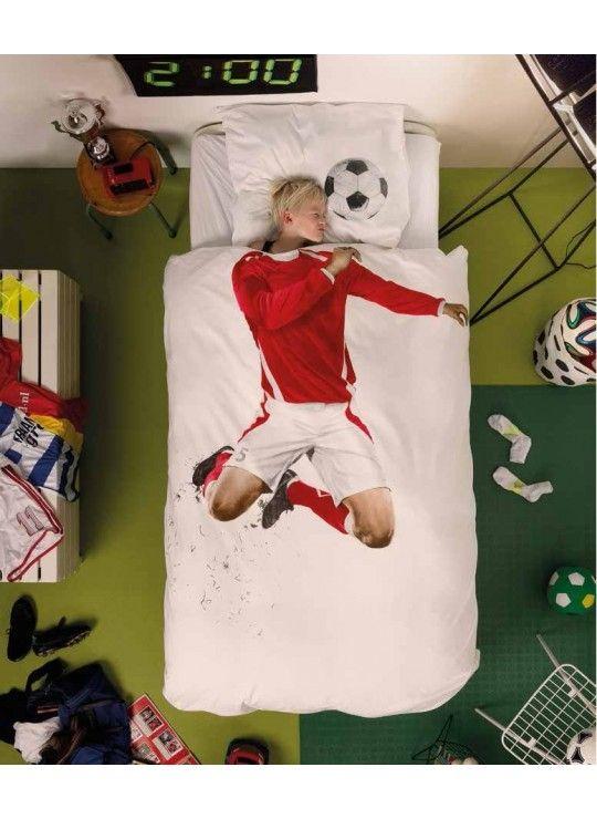 housse de couette soccer rouge
