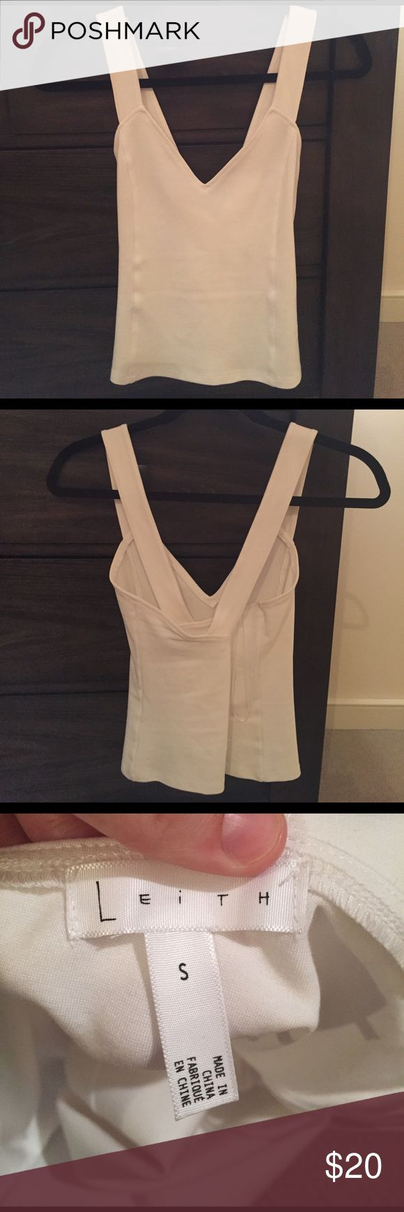 Great white top. NEVER WORN. On the tighter side, I was looking for an alternative to a body suit. Crosses in the back. V neck is very flattering on athletic body type Leith Tops Crop Tops
