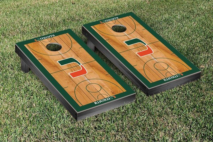University of Miami Hurricanes Basketball Court Cornhole Game Set