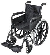 Handbewogen inklapbare stalen rolstoel DELUXE 19.4kg - zwart exemplaar (VA167)