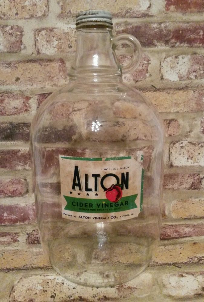 Vintage Alton Illinois Cider Vinegar 1 Gallon Glass Jug