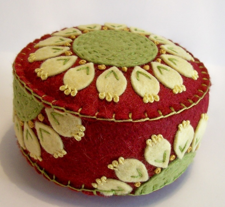 "I ❤ pincushions . . . Red Rodeo Pincushion- A little twist on the Favorite Pincushion 3 1/4"" x 2""  ~By TheDailyPincushion"