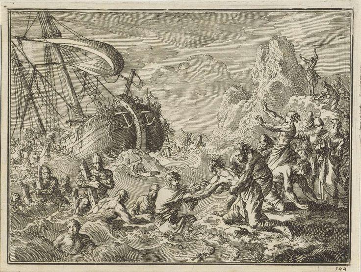 Jan Luyken | Schipbreuk van de apostel Paulus bij Malta, Jan Luyken, 1712 |