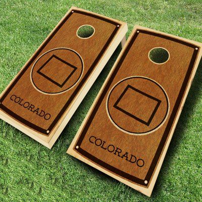 Ajj Cornhole State Stained Cornhole Set 4 Red/4 Yellow Bean Bags - 109-STATE STAIN COLORADO RED/YELLOW, Durable