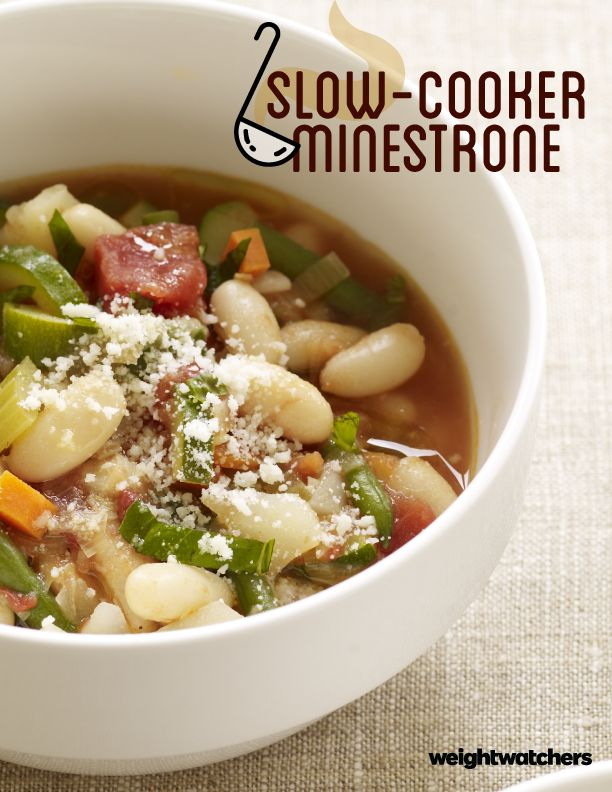 Slow-Cooker Minestrone, a classic favorite for soup lovers! Try this warm 5 PointsPlus value recipe tonight. Bonus- it freezes well, so you can make a double-batch!