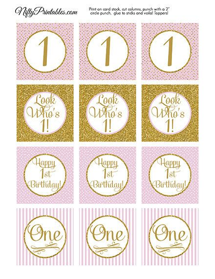 1st Birthday Cupcake Toppers First Birthday by NiftyPrintables, $5.00